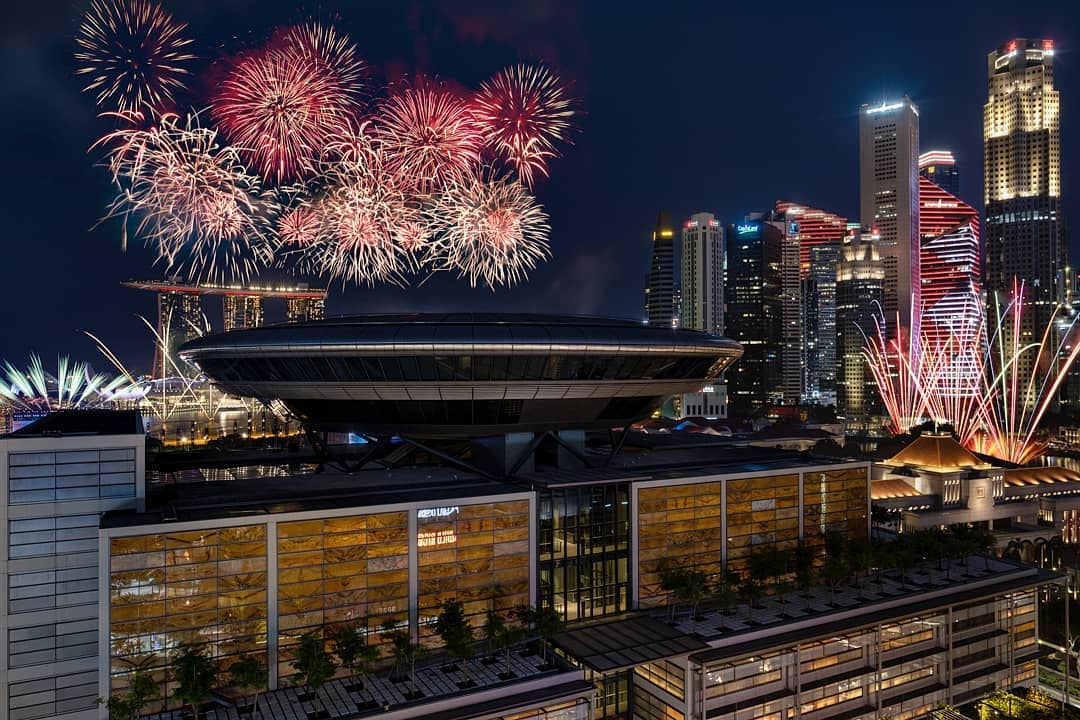 ndp 2020 fireworks - the rooftop at Funan Mall peeks over the Supreme Court to give you a view of the fireworks.