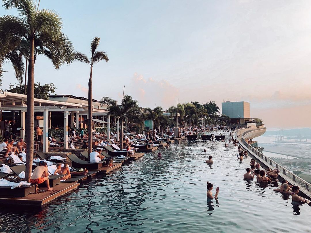 Phase 2 reopened hotels - Marina Bay Sands - infinity pool