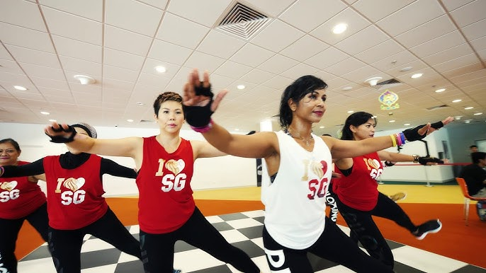 Singaporeans workout in red and white