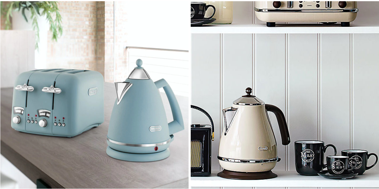 Delonghi argento flora and icona vintage electric kettles