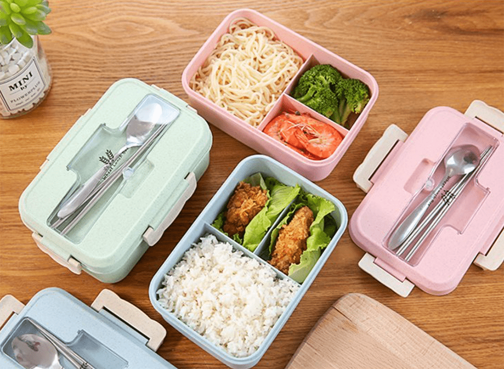 Reusable Food Containers - Bento Box Built-In Phone Holder