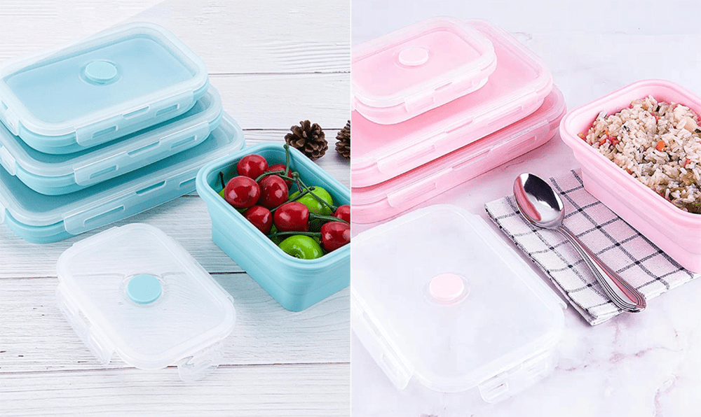 Reusable Food Containers - Collapsible Silicone Lunchbox