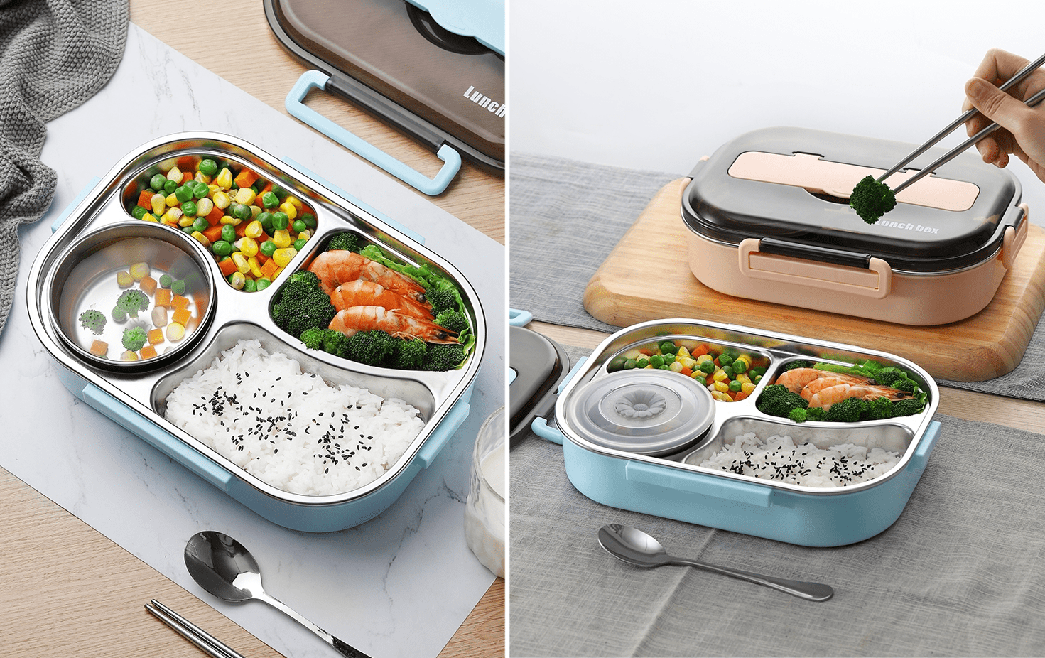 Reusable Food Containers - Spill-Proof Bento Box Soup Compartment