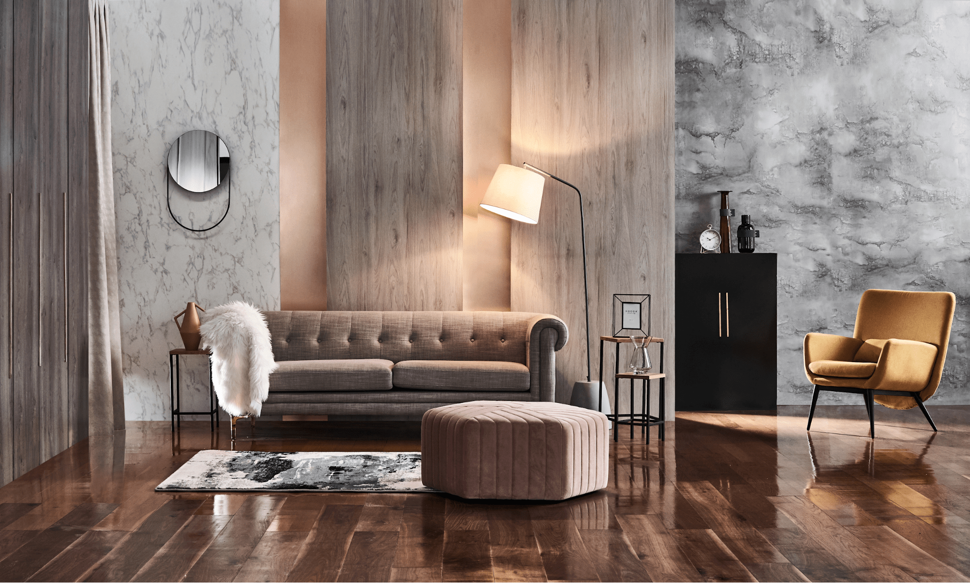 Sculptural lights with mirrors, poufs and armchairs for home decor
