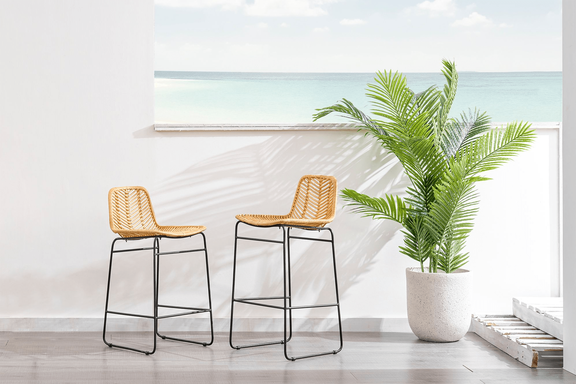 Rattan hagen bar stools for decor