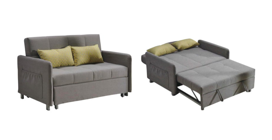 braddon grey sofa bed has an easy pull-out mechanism