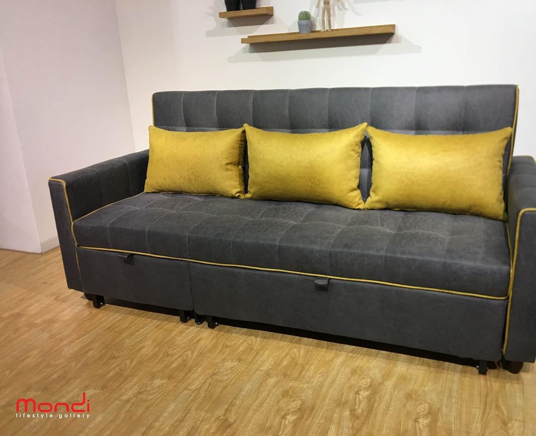 The Meryl 3-seater sofa in charcoal and mustard in colour with generous space
