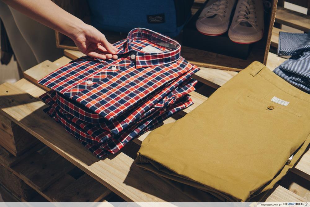 BHG Bugis Junction Cool Blue checkered shirt and camel bermudas shorts