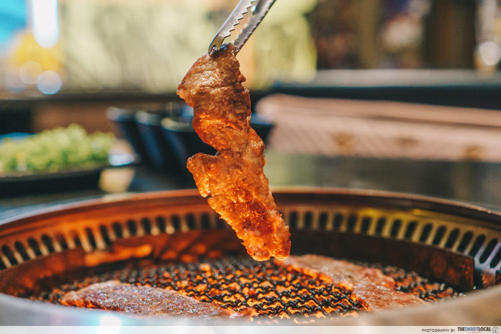 Rocku Yakiniku wagyu buffet on grill