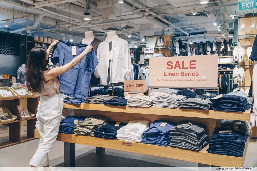 Muji Bugis Junction linen sale 50% off