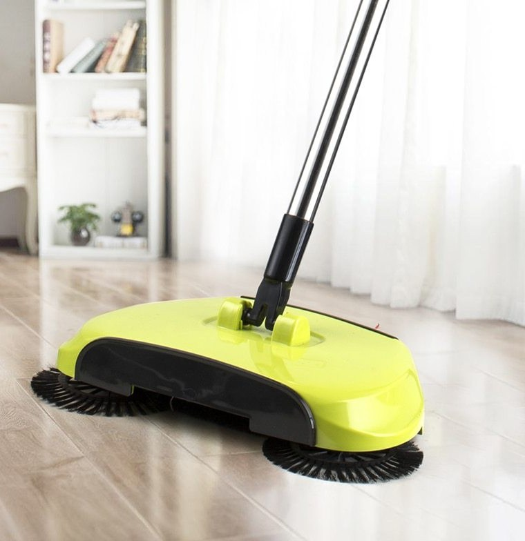 dual rotating brushes broom gets double teh cleaning done
