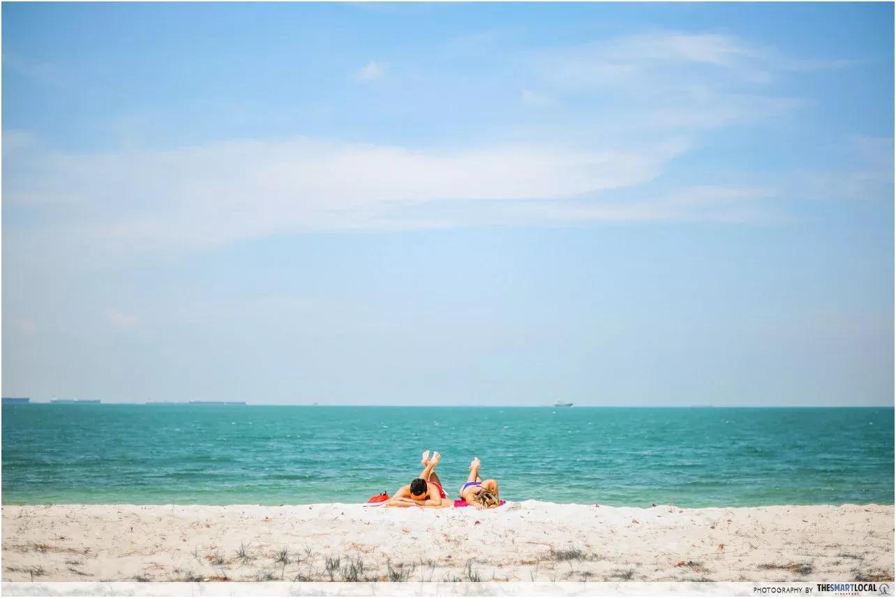 sunbathing at lazarus island