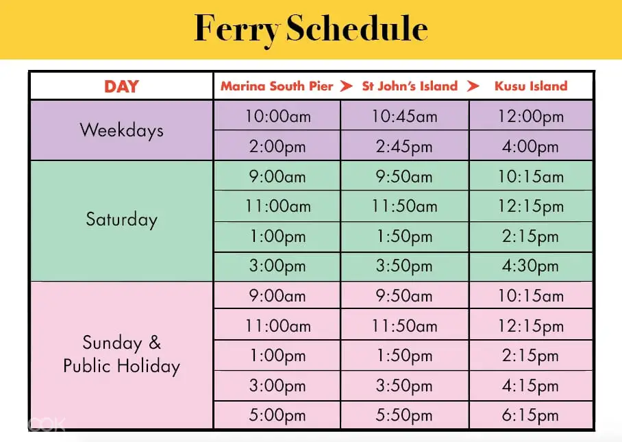 Klook Ferry Schedule to Kusu and St. John's Island
