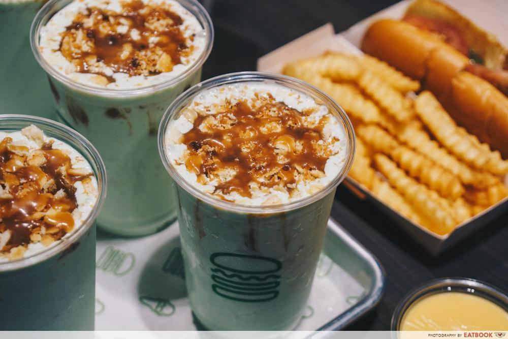 shake shack singapore - the pandan milkshake is one of the local flavours offered
