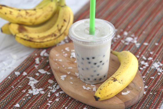 Banana milk bubble tea