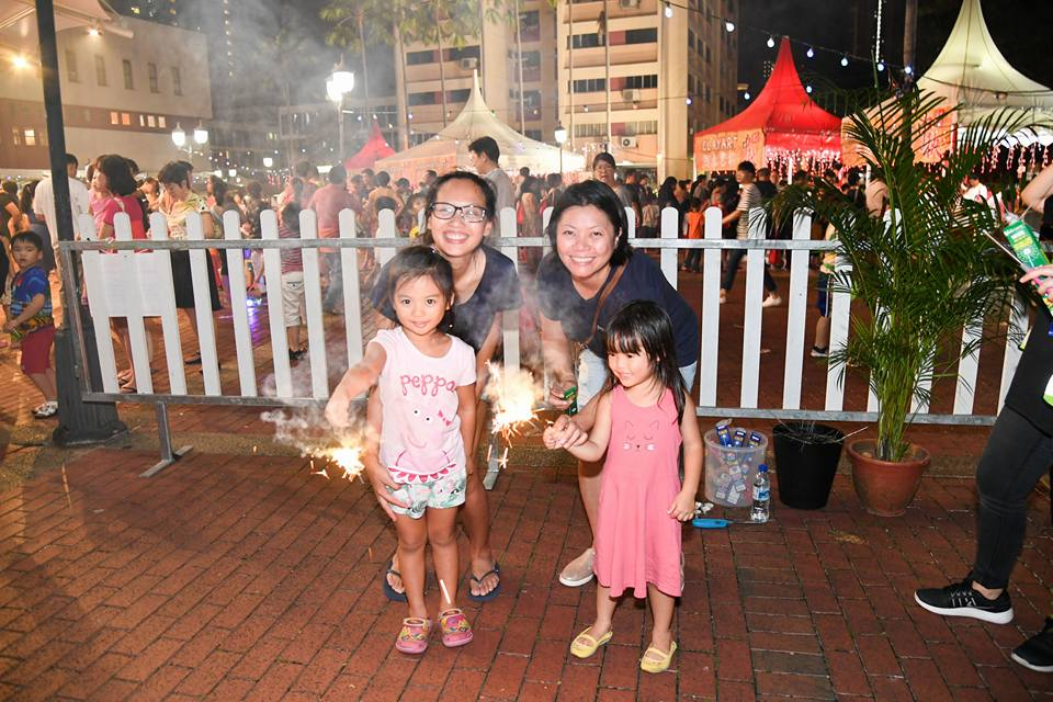 Sparklers during Mid-Autumn Festival