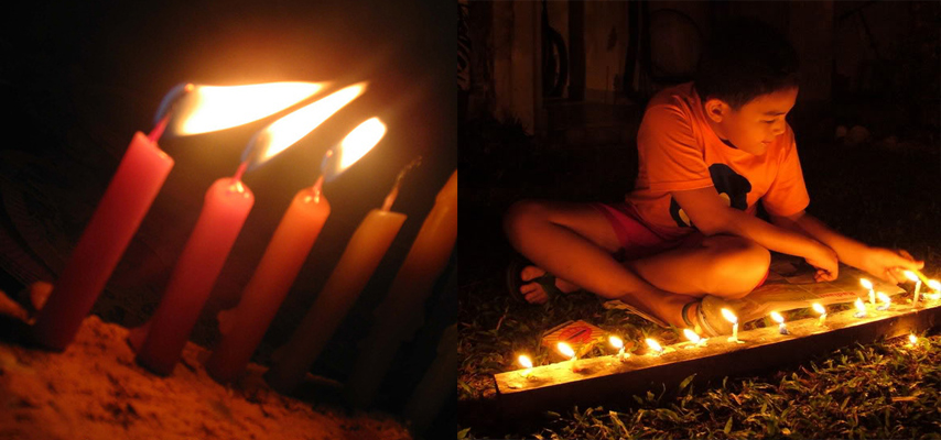 Candles burning Mid-Autumn Festival