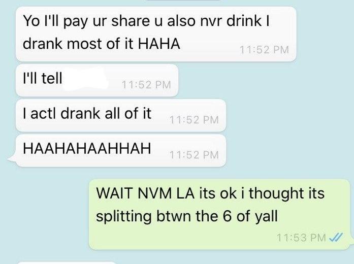splitting bill for alcohol, quit alcohol