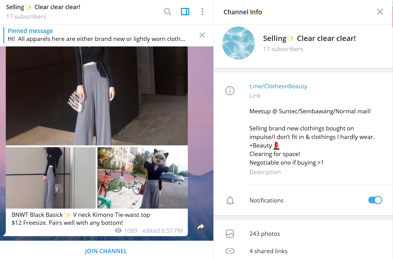 Selling Clothes Online on Telegram Channels