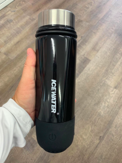 this ICEWATER smart bottle has an integrated bluetooth speaker and a hydration reminder every one hour