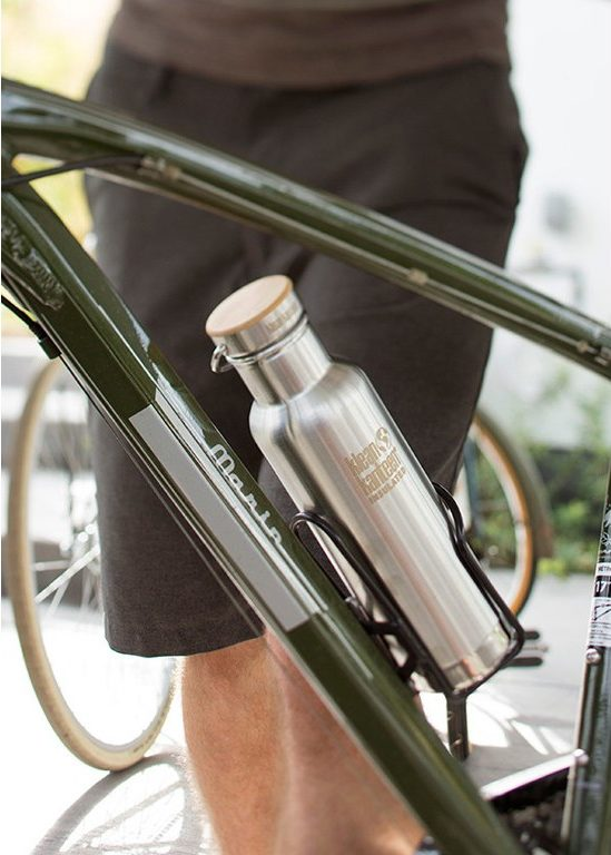 klean kanteen fits snugly into your bike cages for easy hydration on the go