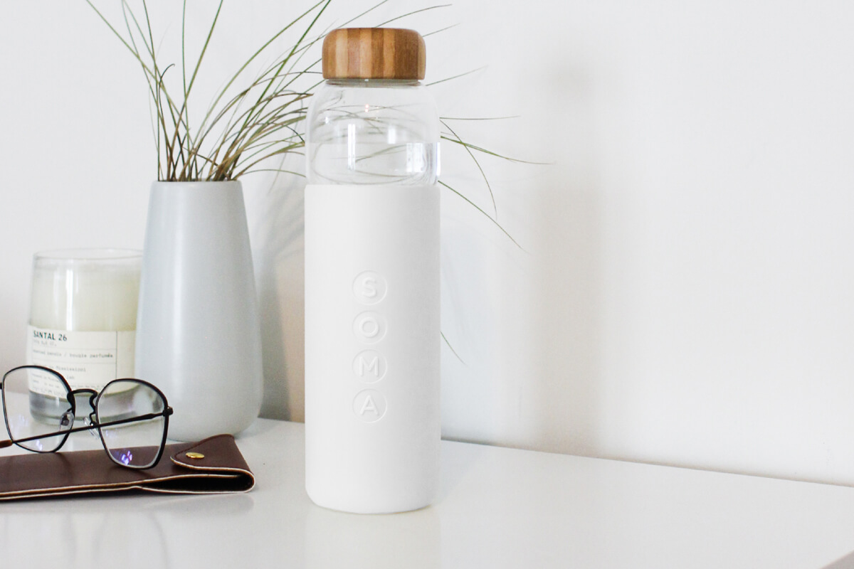 this sleek glass bottle is durable while maintaining its clean aesthetic