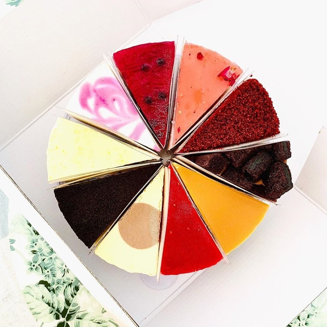 cake delivery singapore - cat & the fiddle fickle feline rainbow cake flavours