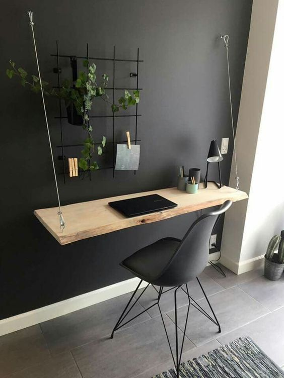 home office ideas - Suspended laptop desk