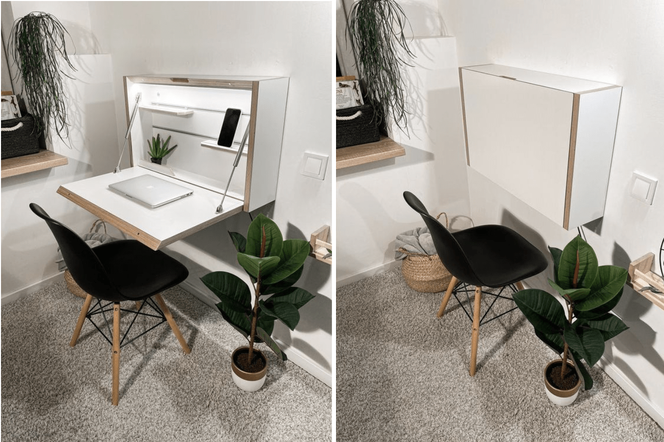 Foldaway wall-mounted desk