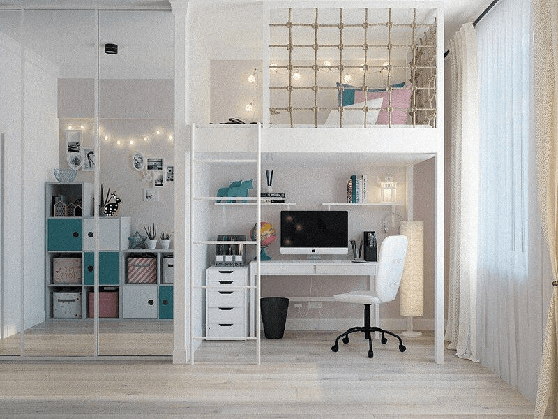 2-in-1 workspace and bedroom