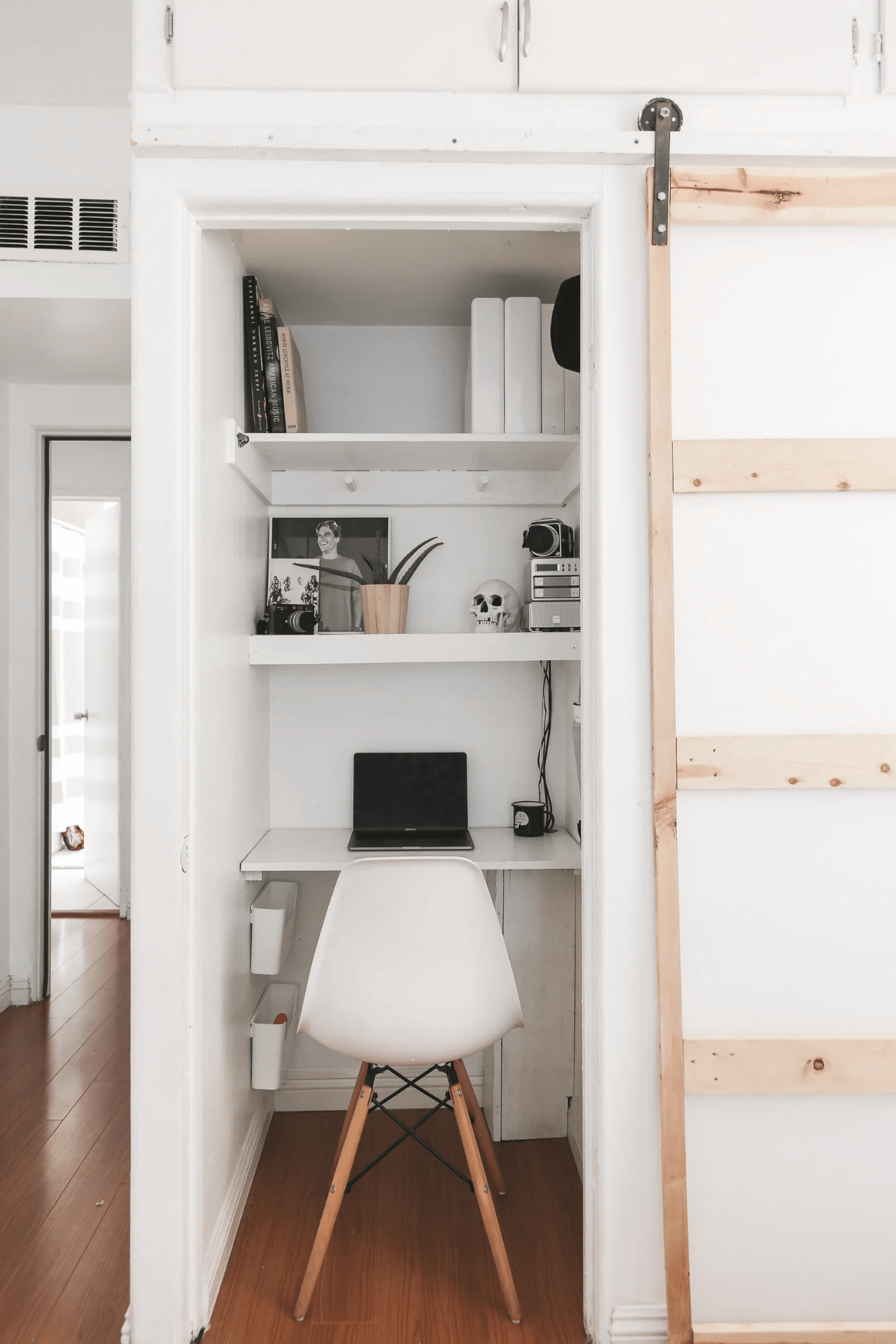 Hidden office-in-a-wardrobe