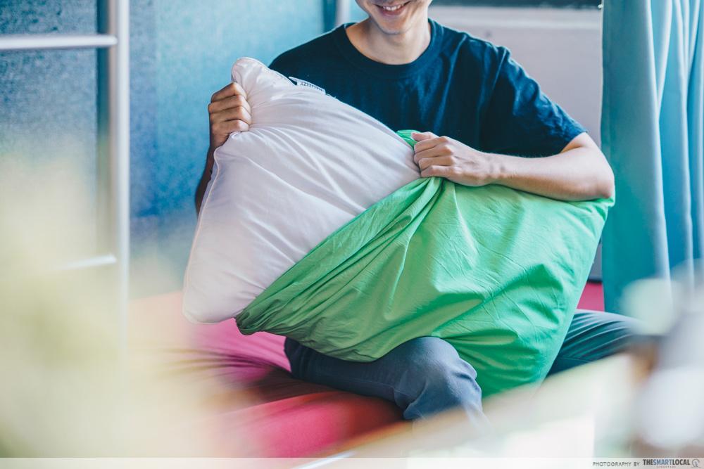 changing pillowcase