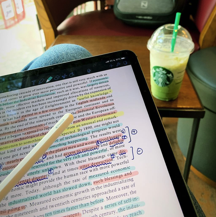 the writer studying in a cafe while between appointments