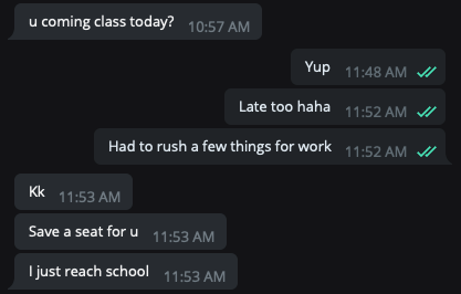 screengrab from a text exchange where the writers friend offered to save a seat in class as he was late