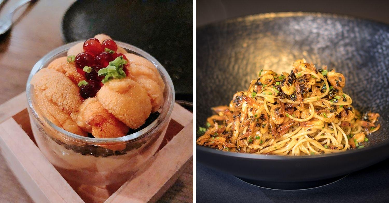 Le Binchotan Uni and caviar and sakura ebi capellini