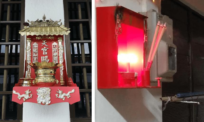 Wall altars joss stick holders Singapore Buddhism