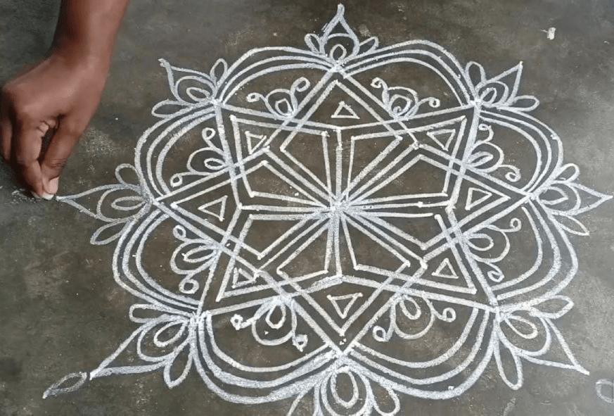 Chalk Kolam Hinduism Singapore
