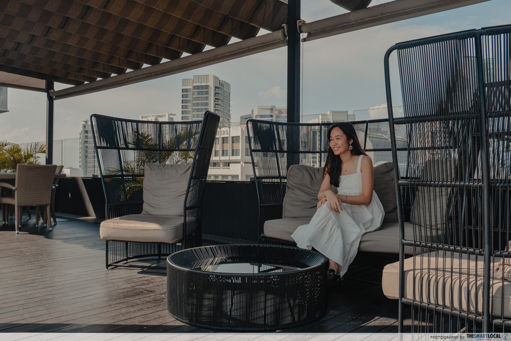 Sofas at Hilton rooftop pool
