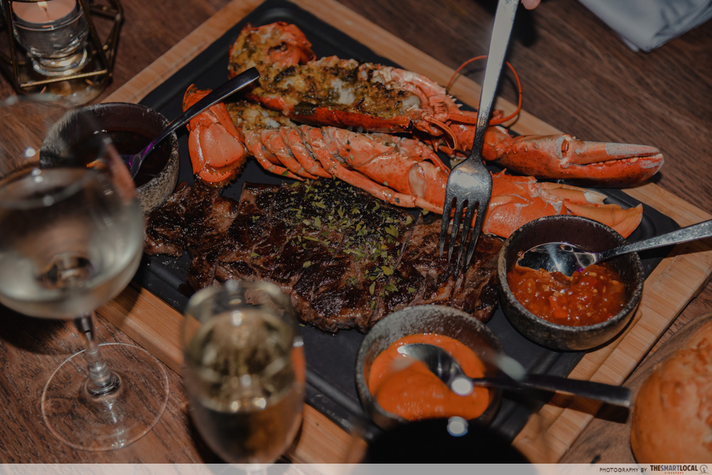 Wagyu and Lobster platter at Opus Bar and Grill - Hilton Steak-cation