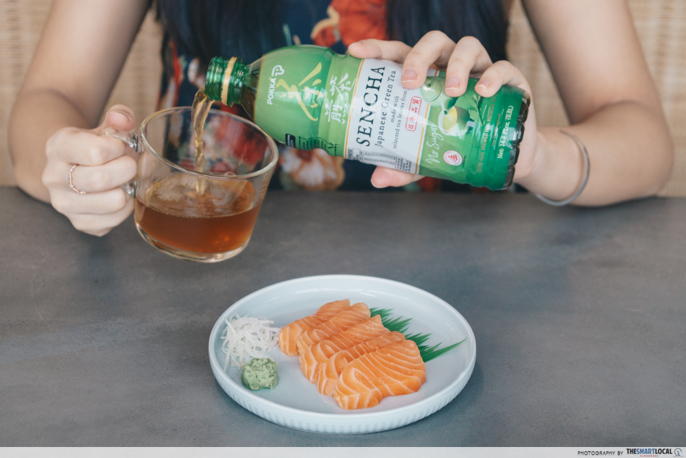 Salmon Sashimi - Sencha Japanese Pokka No Sugar Tea