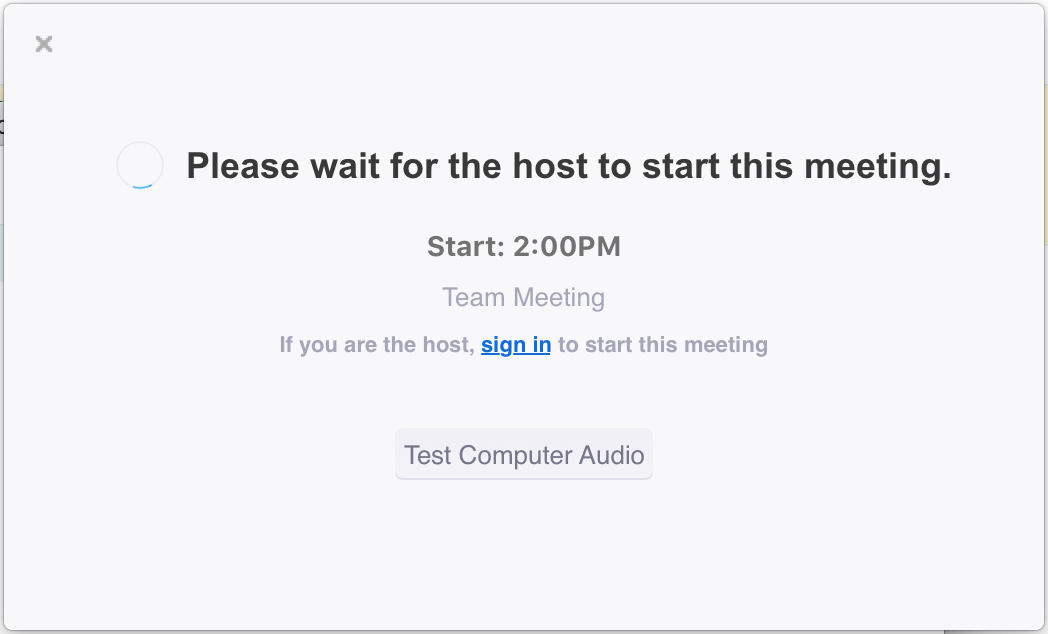 waiting for the host zoom meeting pop-up