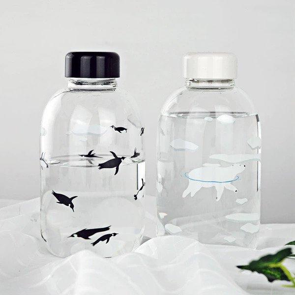 marine animal monochrome glass bottle
