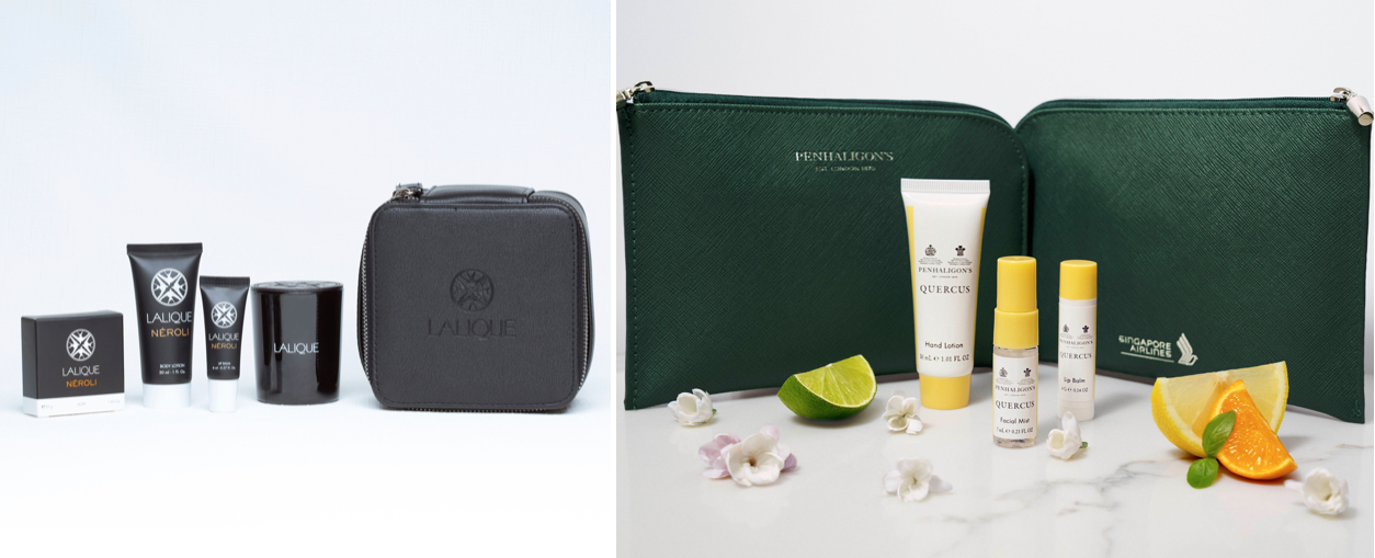 Lalique and Penhaligon's amenity kits