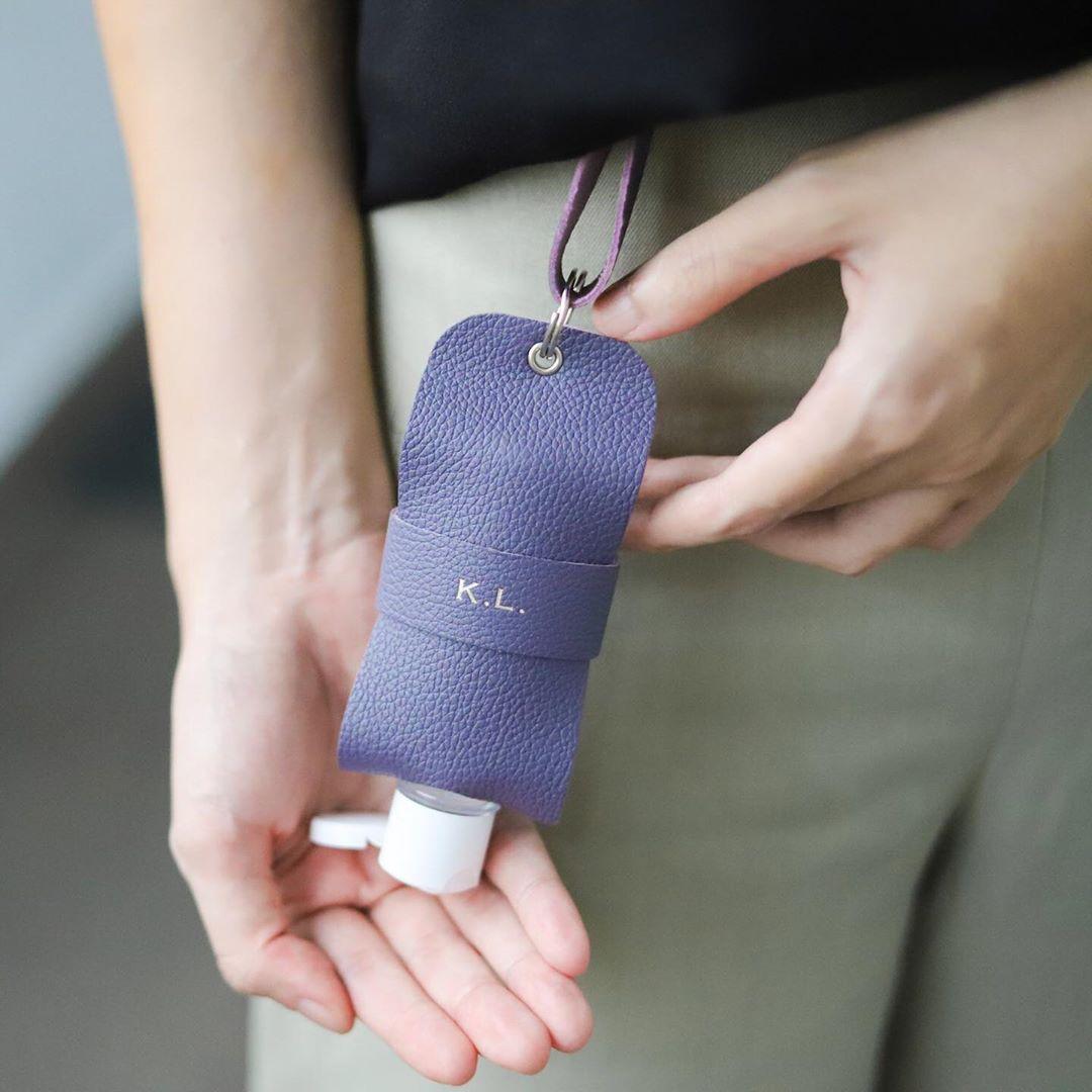Bynd Artisan leather hand sanitiser holder