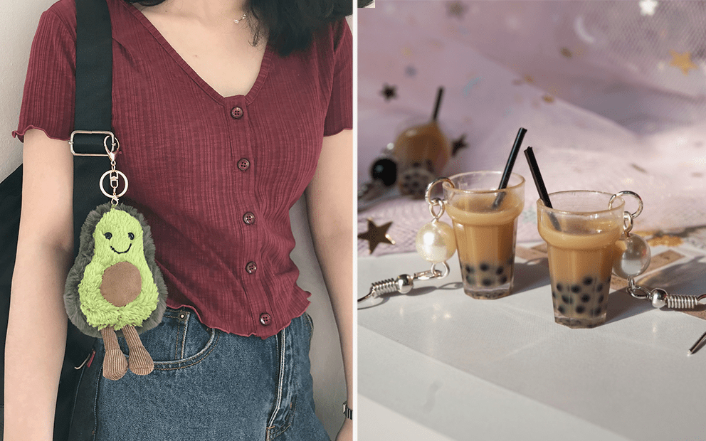 Taobao - Avocado Plushie Keychain, Bubble Tea Earrings