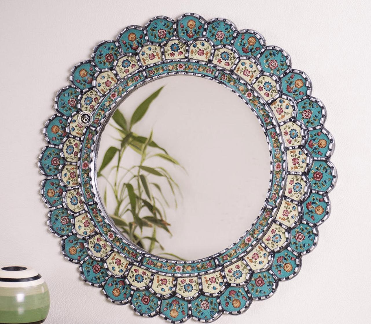 Peruvian round wall mirror