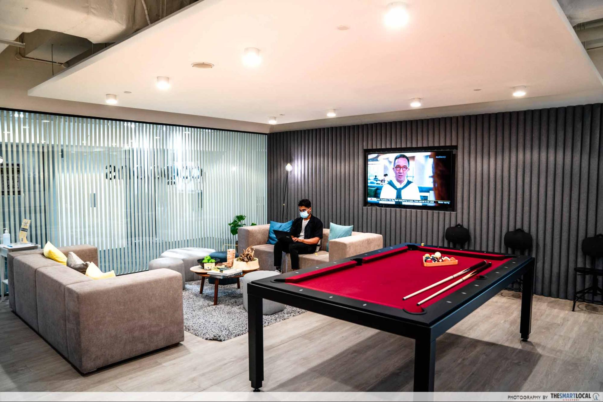 coqoons coworking pool table, workspaces in singapore