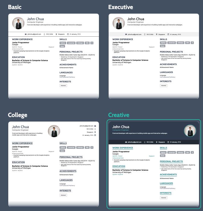 resume templates on novoresume