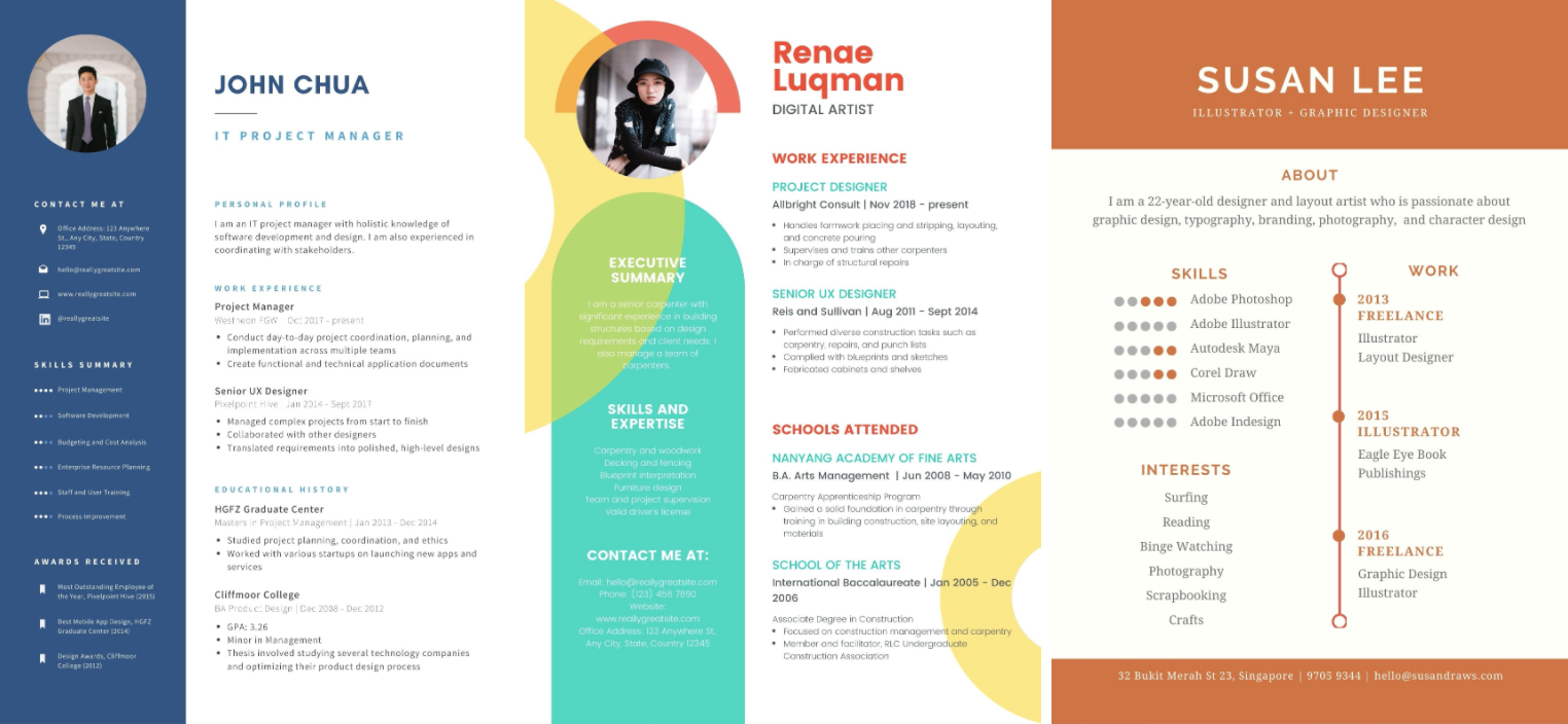 resume builder singapore - canva offers colourful templates that you can edit