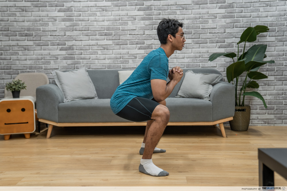 squatting with a neutral back